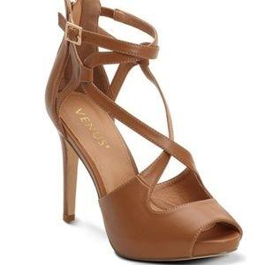 NIB Venus Cognac Strappy Platform Heels